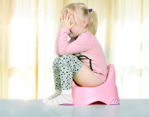 девочка сидит и плачет на горшке