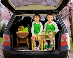 108365684, близнецы, машина, автомобиль, дети, багажник, два ребенка