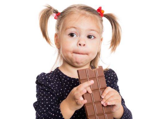 девочка с шоколадкой