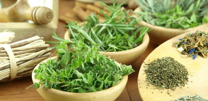 Лекарственные травы на столе