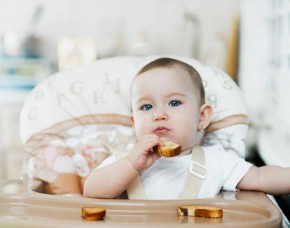Грудничок кушает сухарь за столиком